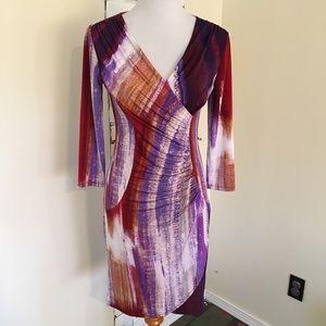 Dana Buchman XS Abstract Faux Wrap Dress V Neck